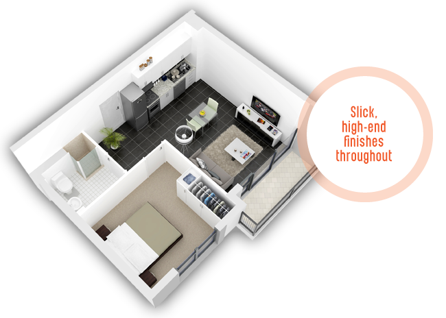 One bedroom unit layout of The Acorns